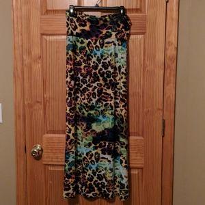 Multi Colored Leopard Print Skirt